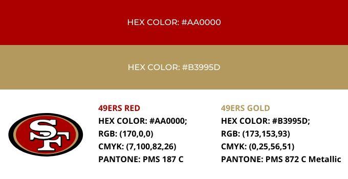 San Francisco 49ers Color Codes