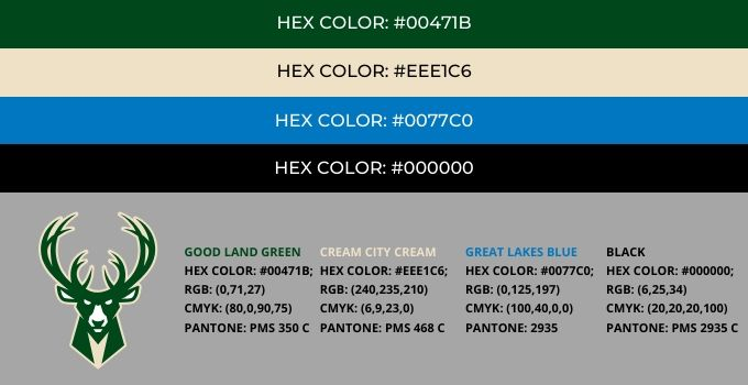 Milwaukee Bucks Color Codes