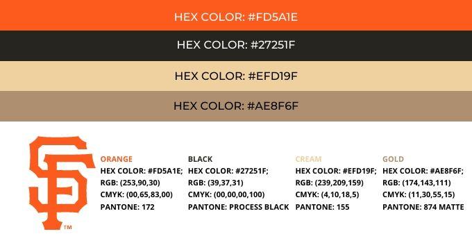 San Francisco Giants Color Codes