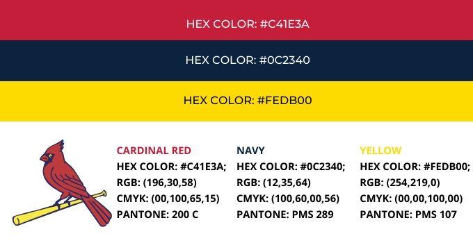 St Louis Cardinals Color Codes
