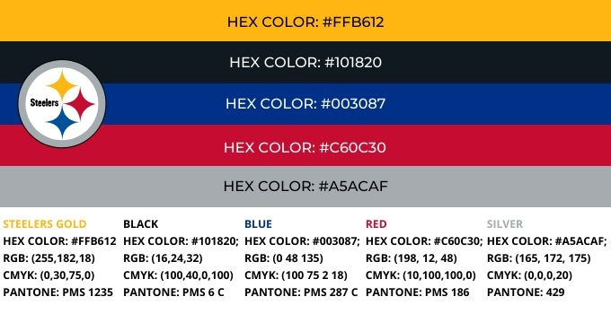 Pittsburgh Steelers Color Codes
